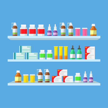 pharmacy pills: Medical tablets, pills, medical bottles on shelves. Shelves with medicines in a pharmacy in a flat style. Purchase and sale of medicines.