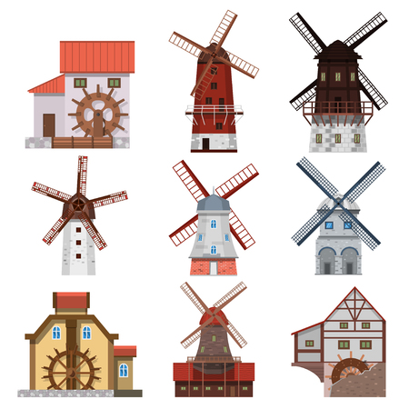 watermill: Traditional european windmills and water mills. Icons of old rural windmills in a flat style. Village farm buildings.