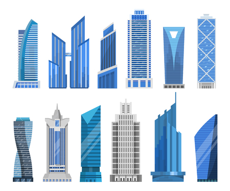 business buildings: Modern skyscrapers in a flat style. High-rise or tower office buildings vector set. Isolated business buildings for a cityscape. Illustration