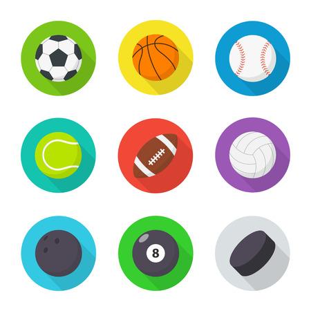 puck: Sports balls set. Flat, cartoon balls for playing soccer, basketball, volleyball, baseball etc. Vector icons sports equipment.