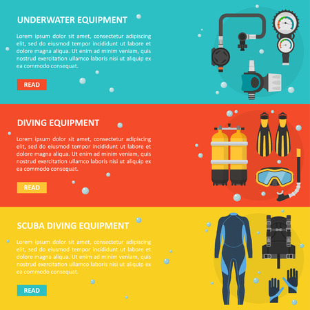 deepsea: Scuba diving horizontal banner in a flat style. Template for advertising diving equipment and accessories. A poster of deep-sea diving tools with space for text.