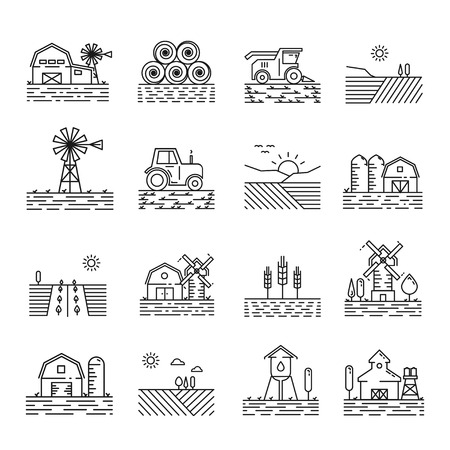 Farming icons in a thin linear style. Sign of farming fields, buildings and machinery in outline. Modern simple icon landscapes farming on white background. Zdjęcie Seryjne - 75614657