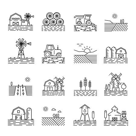 Le icone di agricoltura in un sottile stile lineare. Segno di campi agricoli, edifici e macchinari in contorno. Paesaggi semplici di icone moderni che coltivano su priorità bassa bianca.