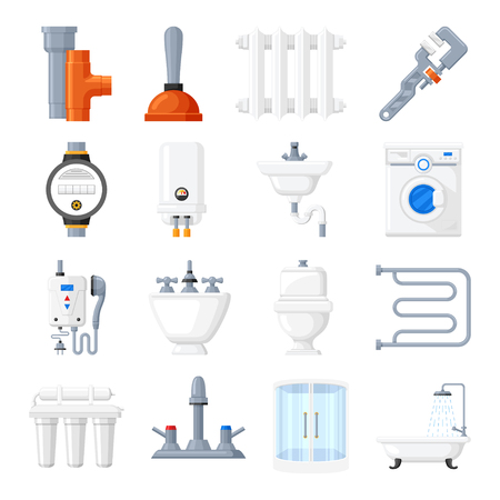 boiler: Plumbing equipment and tools vector icons. Plumbing for a bath, toilet or kitchen on a white background. Home electrical heating plumbing in flat style. Illustration