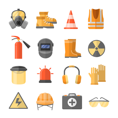 equipment work: Safety at work vector icons in a flat style. Safety helmet, glasses, headphones, mask, gloves, sign, etc. Special personal protective equipment for safety at work.