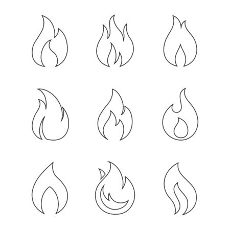 fire flame: Fire outline icons on white background. Burning fireball concept signs. Set of different fire flame icons in a linear style. Set of contour bonfire icons. Illustration
