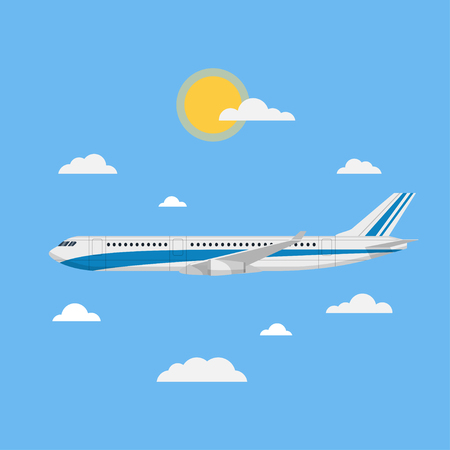 Flying plane vector illustration in a flat style. The plane in the blue sky flying through the clouds. Passenger plane in the blue background side view