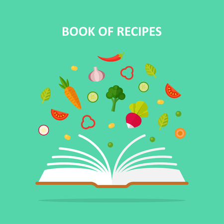 Book of recipes vector concept illustration. Vegetarianism, vegetable diet, healthy eating.