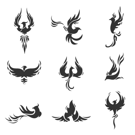 Phoenix bird stylized silhouettes icons on white background. Logo template in the form of a burning flying phoenix.
