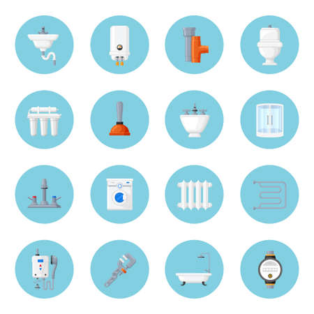 kitchen shower: Plumbing and heating home equipment. Sink, toilet bowl, bath and pipes with tools. Plumbing and device for bathroom and toilet flat icons.