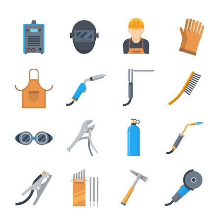 Welding icons in a flat style. Vector set of equipment and tools for the welder. Protective equipment during welding. Иллюстрация