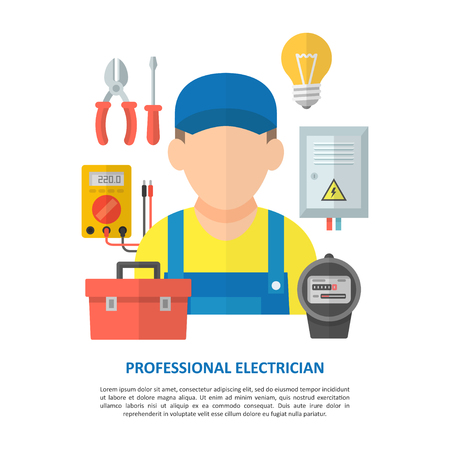 Electrician worker with household electrical equipment and tools. Repair and maintenance of electrical equipment and electricity of the net. Illustration