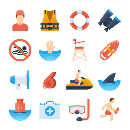 Lifeguard vector icons in a flat style. Equipment of beach lifeguard whistle, life ring, vest, binoculars, tower. The safety of people at sea, the salvation of drowning people.