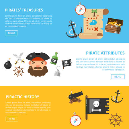 cutlass: Pirate treasures and sea adventures vector banners in a flat style. A set of horizontal banners with pirate attributes.  Illustration