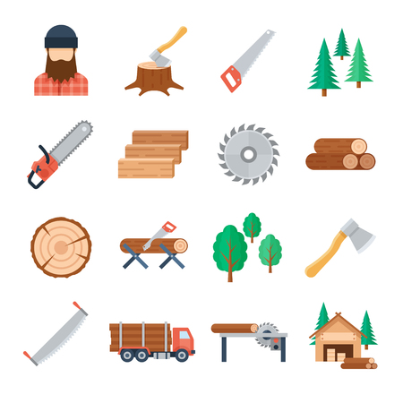 Vector lumberjack icons set in flat style on white background. Tools and equipment of the lumberjack to tree cutting and harvest timbe. Icons of the wood industry and woodworking. Stock Illustratie