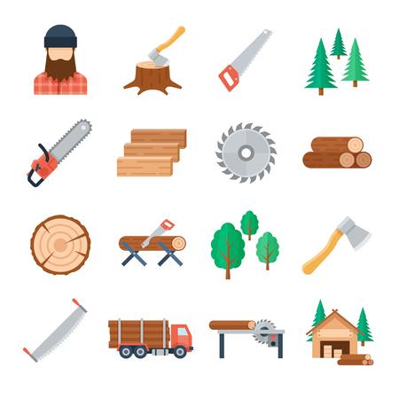 Wektorowe lumberjack ikony ustawiać w mieszkanie stylu na białym tle. Narzędzia i sprzęt drwala do cięcia drzewa i czas zbioru. Ikony przemysłu drzewnego i obróbki drewna. Ilustracje wektorowe