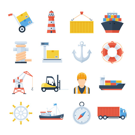 dock: Sea port set of vector icons in a flat style. Loading and unloading of cargo ships in the port. Icons of a crane, a forklift, a cargo ship, containers and a worker. International sea freight. Illustration