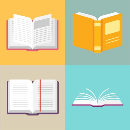 libros abiertos: Abra los iconos del vector del libro en un estilo plano. Estudio y conocimiento, biblioteca y educación, ciencia y literatura. Aislado de libros abiertos en diversas posiciones.