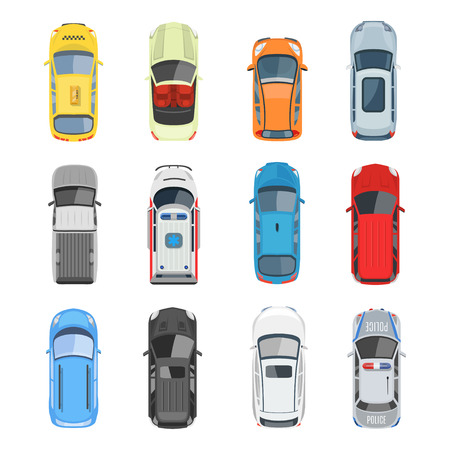 Set of car top view vector set. Different city vehicle transport views from the air or from the birds eye. Isolated icons of auto cars from above in flat style.