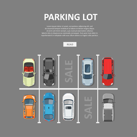 vacant: City car parking vector illustration. Sale of vacant places in a park zone or garage. Top view on city car park with different cars in flat style.