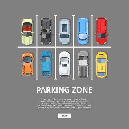 Stad auto parkeren vectorillustratie. Volledige parkeerplaats en een tekort aan beschikbare plaatsen. Parkeerplaats bovenaanzicht in vlakke stijl. Vector Illustratie