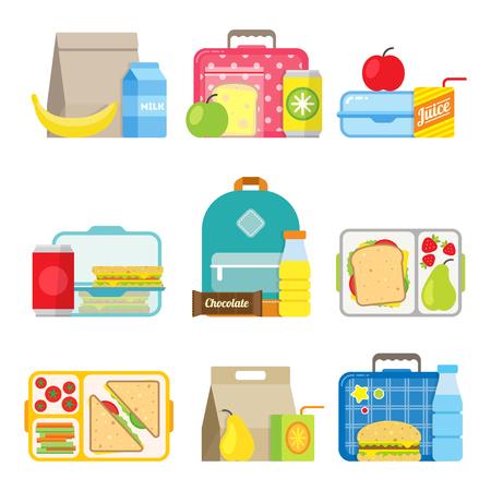 cajas de almuerzo de la escuela fijado. de los niños bolsas de comida y bandejas con las hamburguesas, refrescos, fritas y otros alimentos. Los niños escolares comidas de iconos de estilo plano. Ilustración de vector