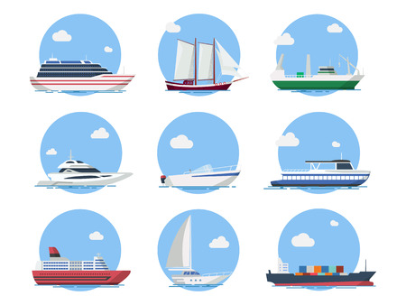 Ships and boats in the sea vector set in flat style. Icons yachts, cruise liner, sailing boat, cargo ship and motorboat. Ocean transport vessels. Иллюстрация
