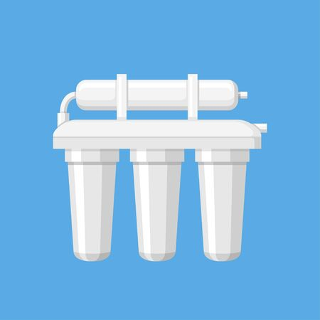 Water filter vector illustration in a flat style. Modern home water treatment equipment. Icon of a white water purifier on a blue background.