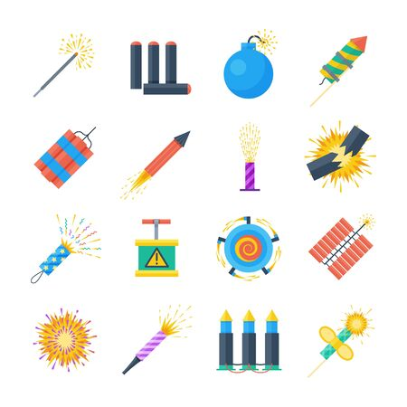 squib: Pyrotechnics vector set of icons in a flat style. Festival petards, fireworks, crackers, sparklers on a white background. Holiday pyrotechnic explosions and claps.