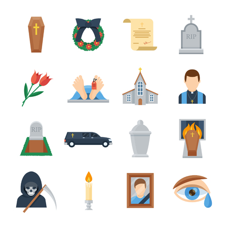 Funeral vector icon set in a flat style. Ritual services, funeral agency concept illustration. Funeral accessories wreath, coffin, candles, urn for ashes, tombstone, will. Иллюстрация