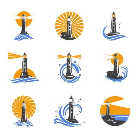 海の波のベクトルのアイコンの中で灯台。沿岸の塔は船の航行のサーチライトのビーム。白の背景に黒と白灯台のセットです。