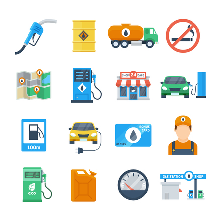Petrol station icons in a flat style. Attributes of a gas station of a column, a canister, a petrol pump, a worker, a cafe. Isolated vector illustration. Illustration