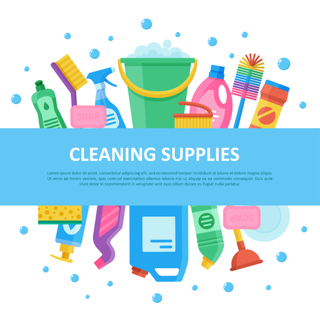 Cleaning janitorial supply product set with central lettering, professional sanitizing equipment for home and office. Vector flat style illustration isolated on white background with soap bubbles Illustration