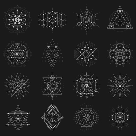 Geometric shapes with symbolic proportion and sacred meanings, esoteric idea in simple forms. Vector flat style illustration isolated on black background