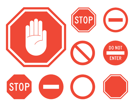 Stop signs collection in red and white, traffic sign to notify drivers and provide safe and orderly street operation. Vector flat style illustration isolated on white background Illustration