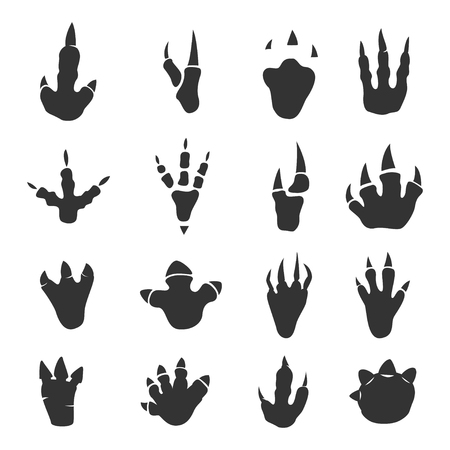Dinosaur footprints collection, detailed foot anatomy, paleontology black traces, educational journey of discovery for kids. Vector flat style illustration isolated on white background
