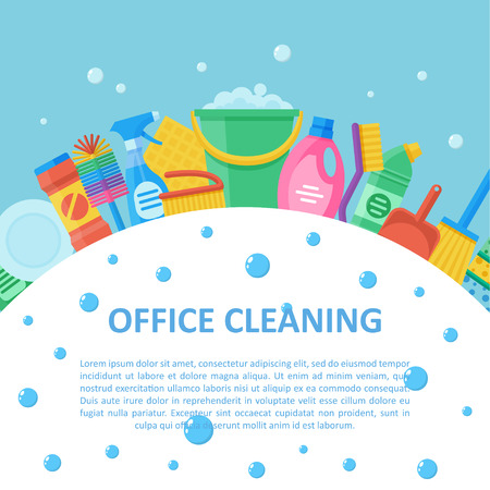 Commercial cleaning service for office building, professional package for janitorial company, kits products and tools selection. Vector flat style illustration