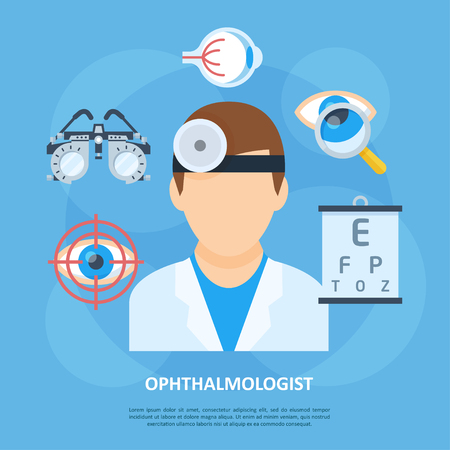 Oftalmoloog pictogram, oog en visuele systeem arts, medische hulpmiddelen voor specialist, anatomie kliniek poster. Vector vlakke stijl cartoon illustratie geïsoleerd op blauwe achtergrond