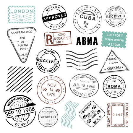 timbre voyage: Vintage post stamps collection for mailing letters, wedding invitations or special announcements, decoration and design element. Vector flat style illustration isolated on white background Illustration