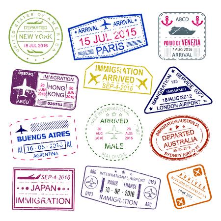 ビザ外国人のパスポート、装飾の色内のコレクションに配置するゴム インクのスタンプです。白い背景に分離されたベクトル フラット スタイルの