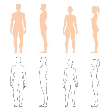 Man and woman silhouette, outline of strong healthy human body, standing pose in front and side view. Vector flat style illustration isolated on white background Ilustracja
