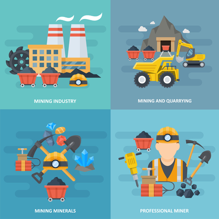 Minig and quarrying industry icon square set, metals and minerals, researching natural resources, professional workers image. Vector flat style cartoon illustration