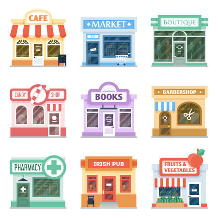 Shop front design ideas collection, retail storefront facade, decoration techniques, traditional shopfront display. Vector flat style cartoon illustration isolated on white background