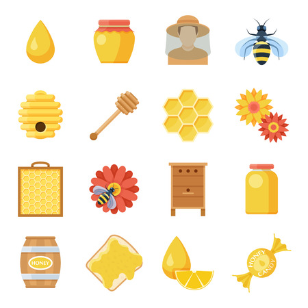 Honey icon set, raising bees product and harvesting objects, organic healthy apiculture elements. Vector flat style cartoon illustration isolated on white background