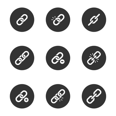 icon: Web link icon set, metal chain images for effective business communication in network, strong connection. Vector flat style illustration isolated on white background