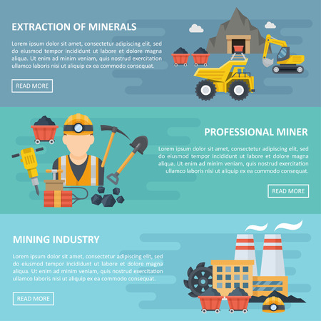Minig industry banner, template poster with copyspace, professional extraction of minerals card, horizontal lines. Vector flat style cartoon illustration Illustration