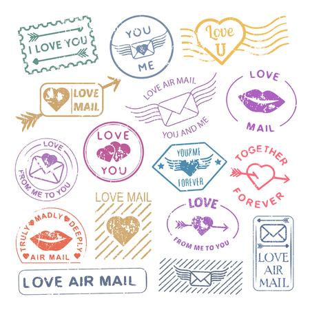 letter envelopes: Romantic letter mail stamp set. Valentine decoration, vintage scrapbooking ideas, envelopes and card sticks. Vector flat style illustration on white background