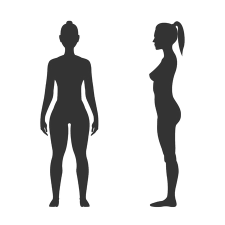 Woman black silhouette, front and side view. Adult human body, art model, fit and sporty figure. Vector flat style illustration isolated on white background Stock Illustratie