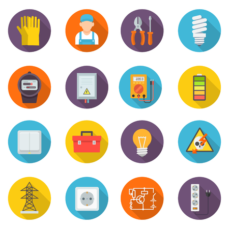 maintain: Electrician icon set, professional symbols, install, maintain, and repair electrical power, lighting, and control systems. Vector flat style cartoon illustration isolated on white background Illustration