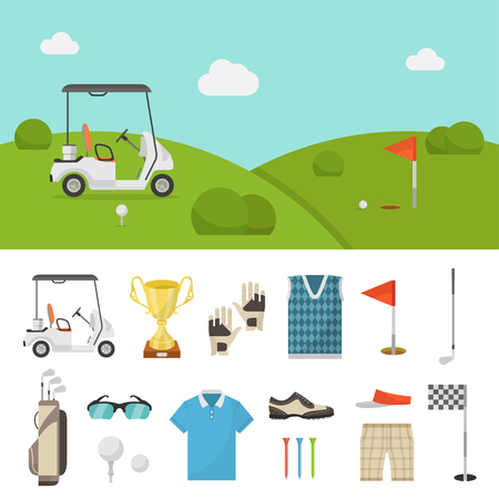 beginner: Golf equipment set and lawn picture. Professional items to play the sport, clothing and accessories, beginner or expert club. Vector flat style cartoon illustration isolated on white background Illustration